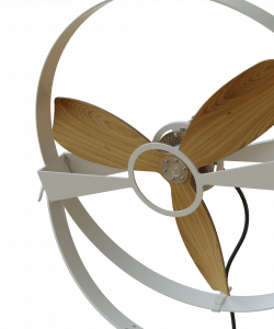 Wooden Rotor Fan White Metal Slow Speed Aura Ttato